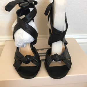 Strappy Bow Tie Black Leather Heels